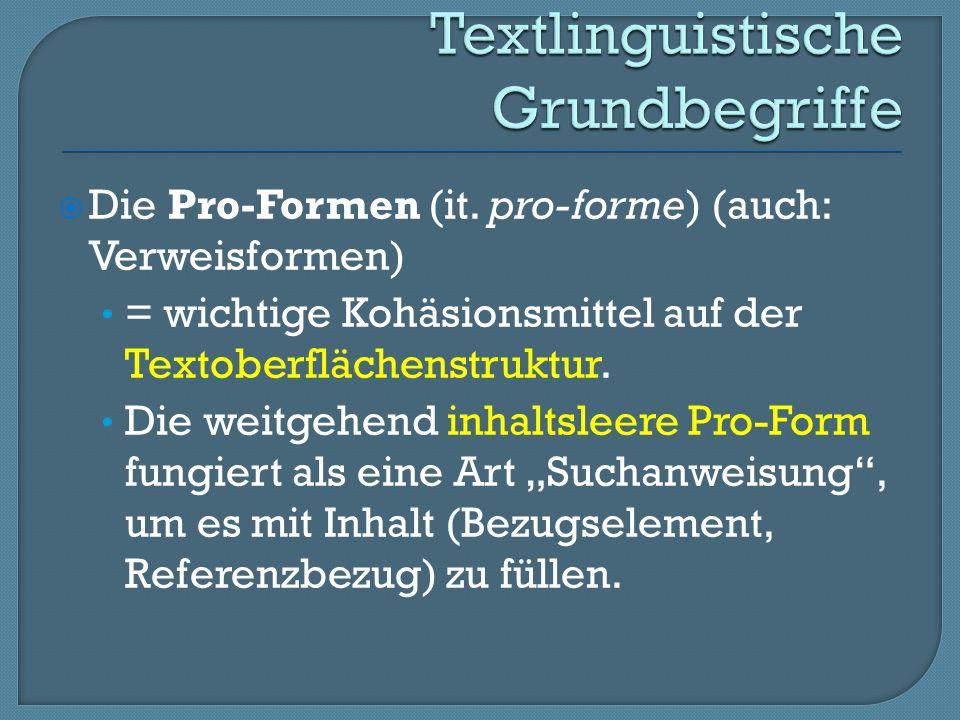 Die Pro-Formen (it.