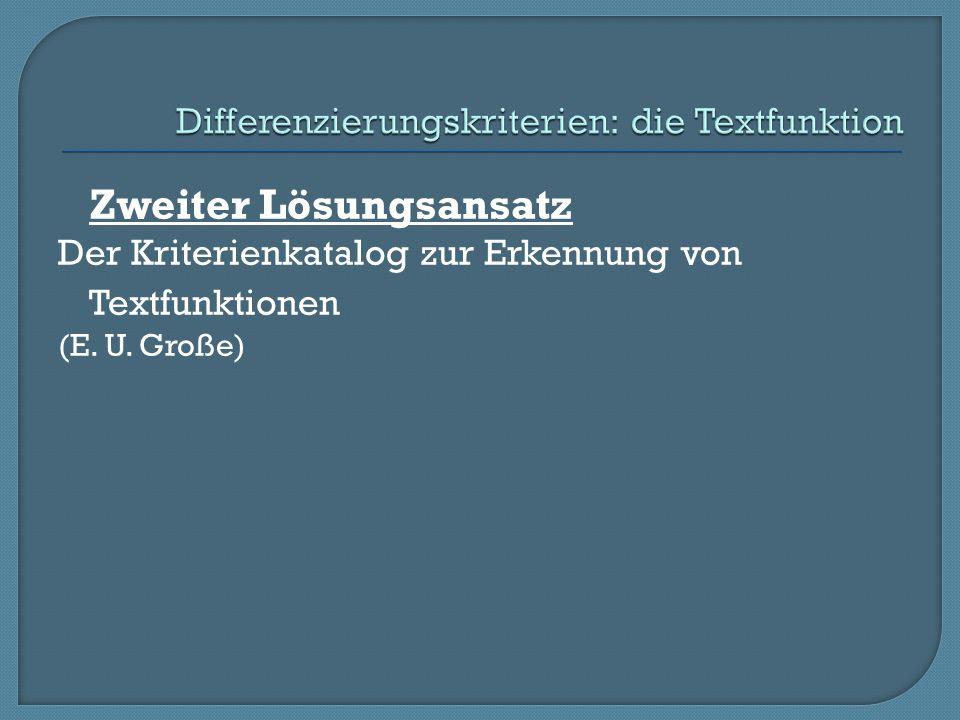 Zweiter Lösungsansatz Der Kriterienkatalog zur Erkennung von Textfunktionen (E. U. Große)