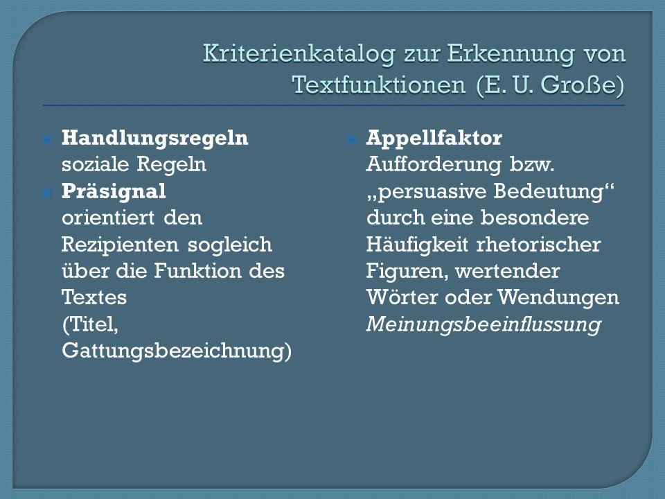 Handlungsregeln soziale Regeln Präsignal orientiert den Rezipienten sogleich über die Funktion des Textes (Titel, Gattungsbezeichnung) Appellfaktor Aufforderung bzw.