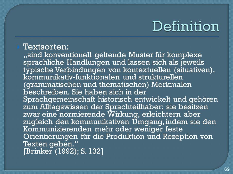Textsorten: sind konventionell geltende Muster für komplexe sprachliche Handlungen und lassen sich als jeweils typische Verbindungen von kontextuellen (situativen), kommunikativ-funktionalen und strukturellen (grammatischen und thematischen) Merkmalen beschreiben.