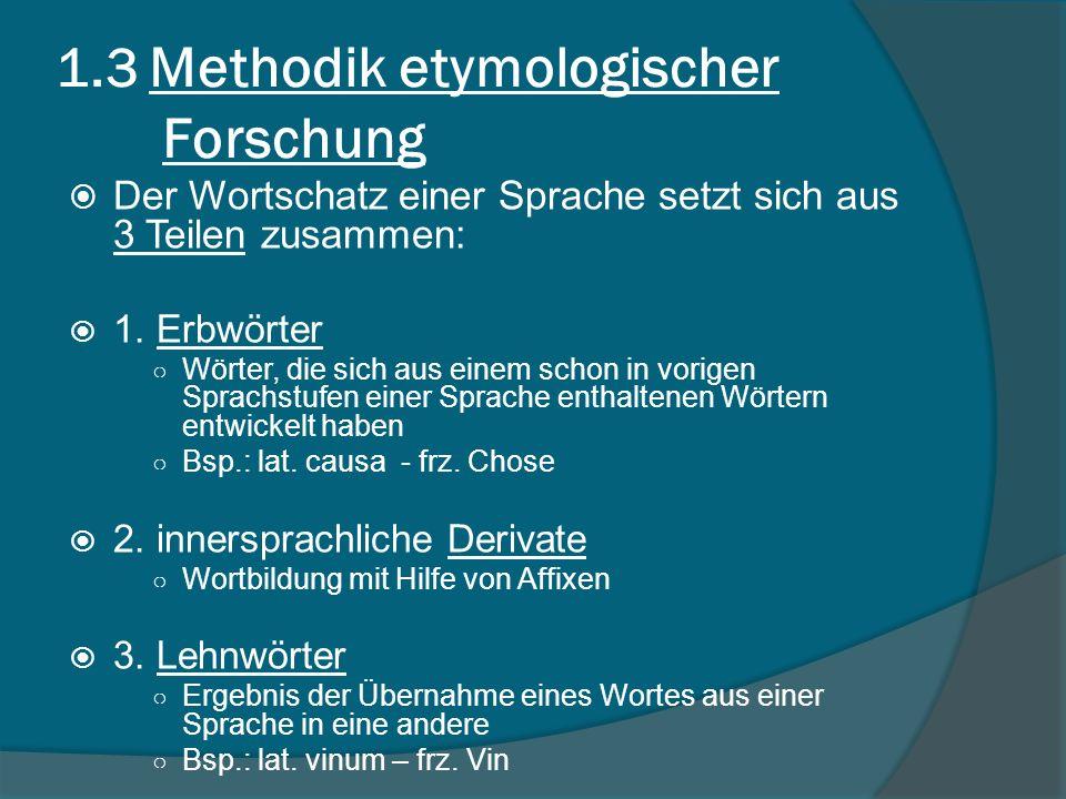 1.3 Methodik etymologischer Forschung Der Wortschatz einer Sprache setzt sich aus 3 Teilen zusammen: 1.