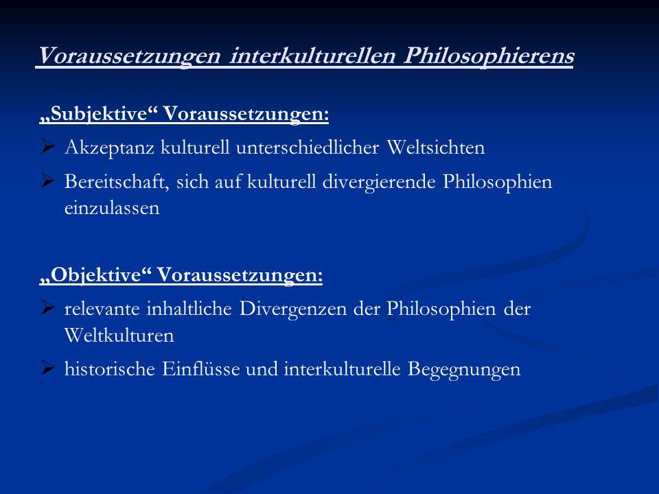 Voraussetzungen interkulturellen Philosophierens Subjektive Voraussetzungen: Akzeptanz kulturell unterschiedlicher Weltsichten Bereitschaft, sich auf