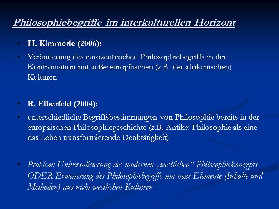 Philosophiebegriffe im interkulturellen Horizont H. Kimmerle (2006): Veränderung des eurozentrischen Philosophiebegriffs in der Konfrontation mit auße