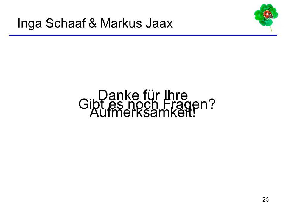 23 Gibt es noch Fragen? Danke für Ihre Aufmerksamkeit! Inga Schaaf & Markus Jaax