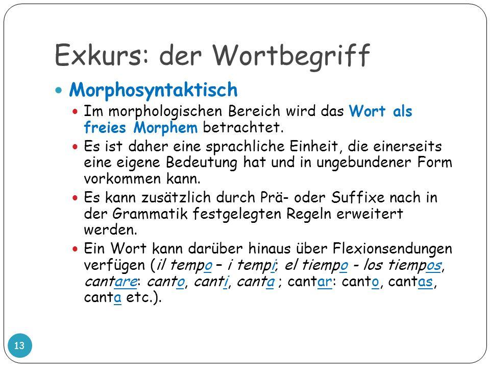 Exkurs: der Wortbegriff 13 Morphosyntaktisch Im morphologischen Bereich wird das Wort als freies Morphem betrachtet. Es ist daher eine sprachliche Ein