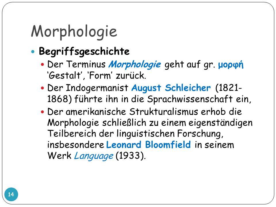 Morphologie Begriffsgeschichte Der Terminus Morphologie geht auf gr. μορφή Gestalt, Form zurück. Der Indogermanist August Schleicher (1821- 1868) führ