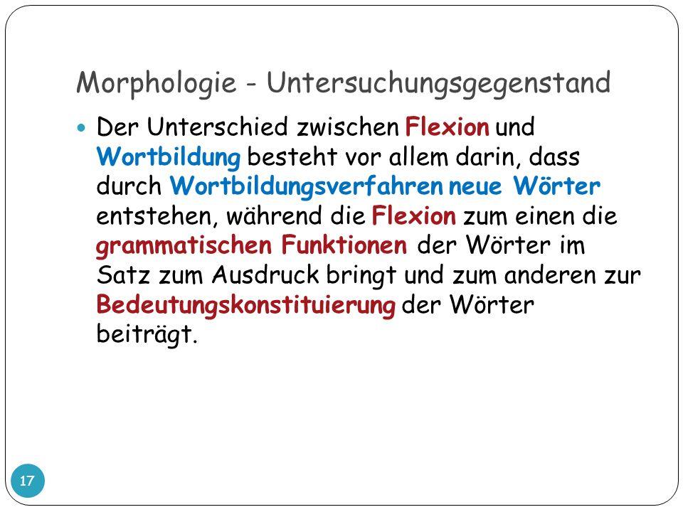 Morphologie - Untersuchungsgegenstand Der Unterschied zwischen Flexion und Wortbildung besteht vor allem darin, dass durch Wortbildungsverfahren neue