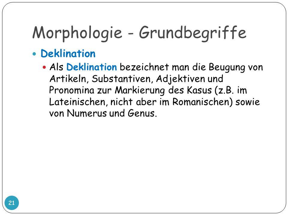 Morphologie - Grundbegriffe 21 Deklination Als Deklination bezeichnet man die Beugung von Artikeln, Substantiven, Adjektiven und Pronomina zur Markier