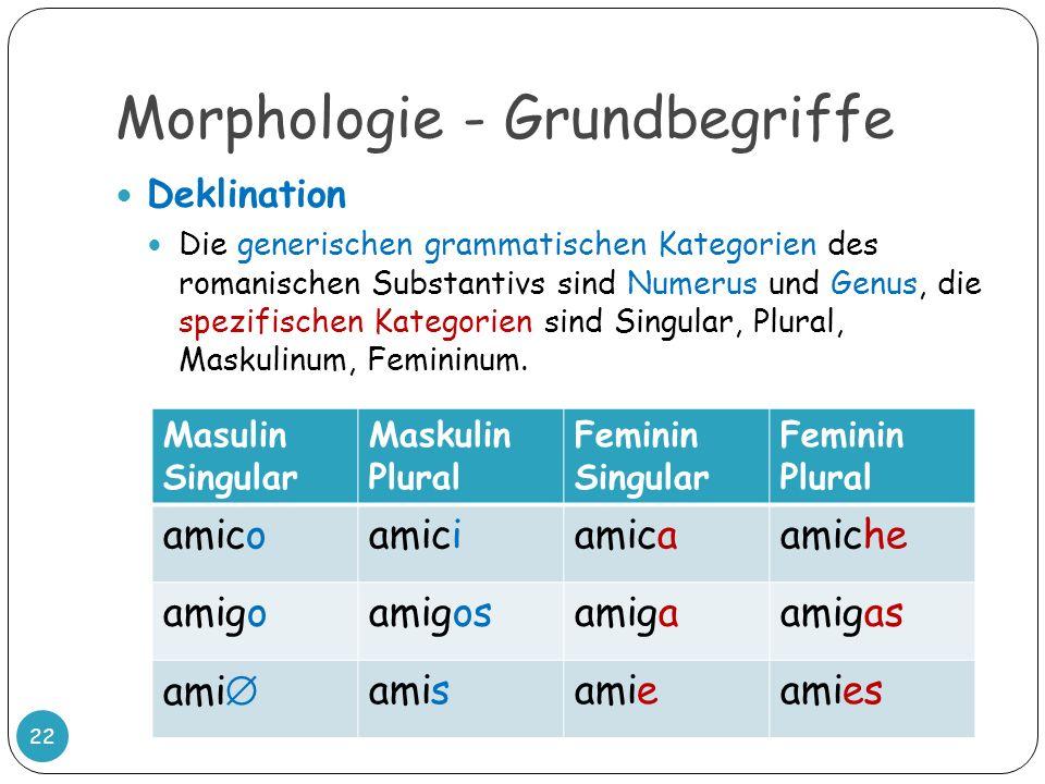 Morphologie - Grundbegriffe 22 Deklination Die generischen grammatischen Kategorien des romanischen Substantivs sind Numerus und Genus, die spezifisch