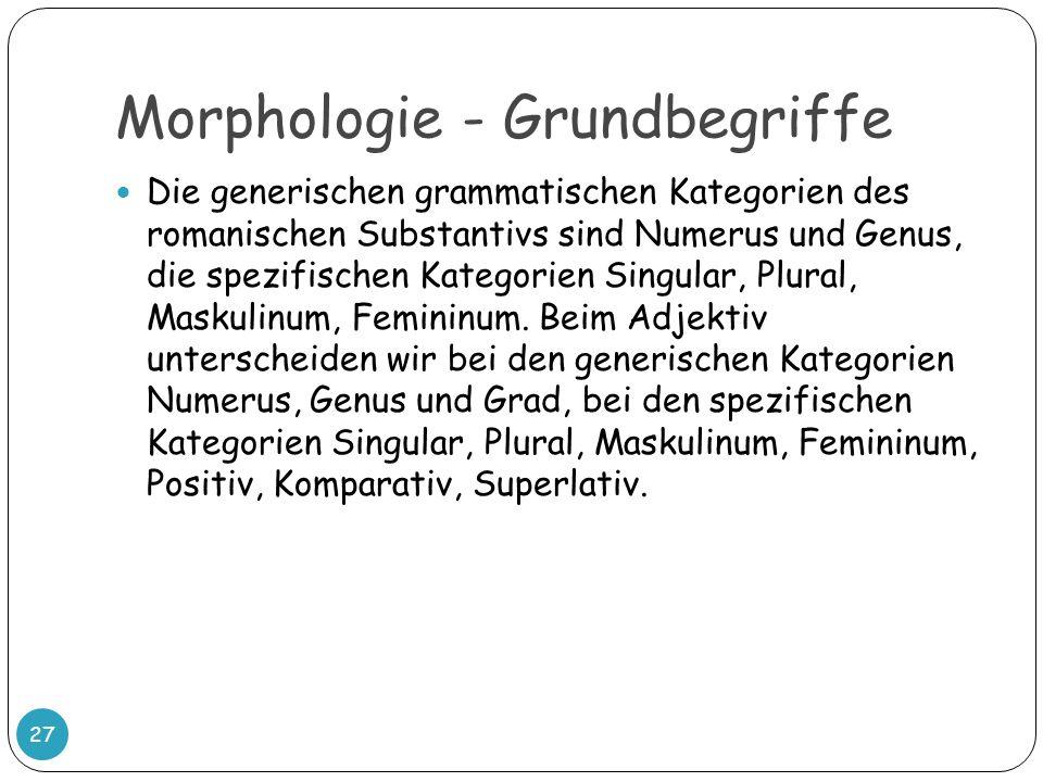Morphologie - Grundbegriffe 27 Die generischen grammatischen Kategorien des romanischen Substantivs sind Numerus und Genus, die spezifischen Kategorie