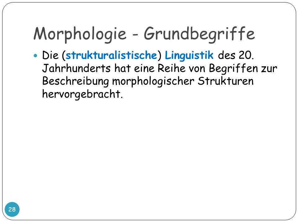 Morphologie - Grundbegriffe Die (strukturalistische) Linguistik des 20. Jahrhunderts hat eine Reihe von Begriffen zur Beschreibung morphologischer Str