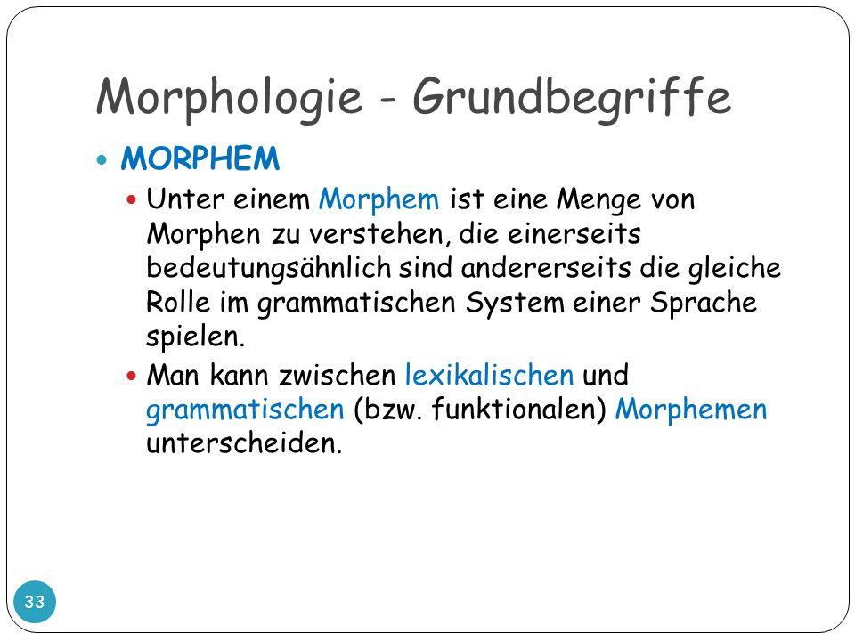 Morphologie - Grundbegriffe 33 MORPHEM Unter einem Morphem ist eine Menge von Morphen zu verstehen, die einerseits bedeutungsähnlich sind andererseits