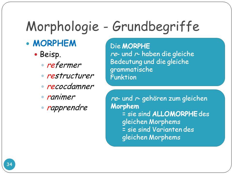 Morphologie - Grundbegriffe 34 MORPHEM Beisp. refermer restructurer recocdamner ranimer rapprendre Die MORPHE re- und r- haben die gleiche Bedeutung u