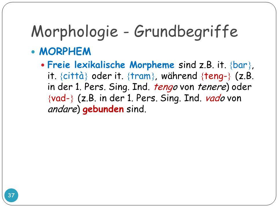 Morphologie - Grundbegriffe 37 MORPHEM Freie lexikalische Morpheme sind z.B. it. bar, it. città oder it. tram, während teng- (z.B. in der 1. Pers. Sin