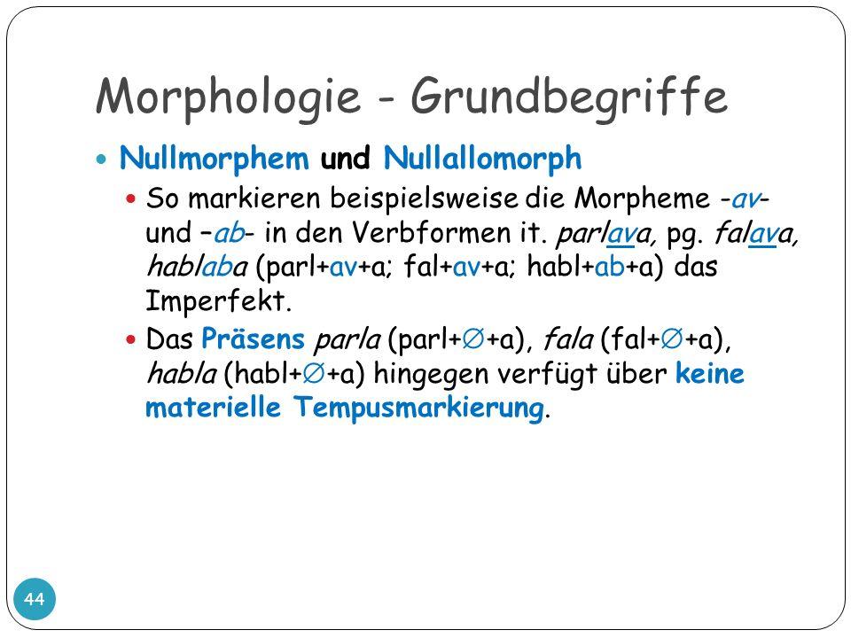 Morphologie - Grundbegriffe 44 Nullmorphem und Nullallomorph So markieren beispielsweise die Morpheme -av- und –ab- in den Verbformen it. parlava, pg.
