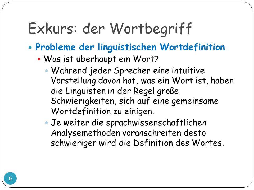 Exkurs: der Wortbegriff 5 Probleme der linguistischen Wortdefinition Was ist überhaupt ein Wort? Während jeder Sprecher eine intuitive Vorstellung dav