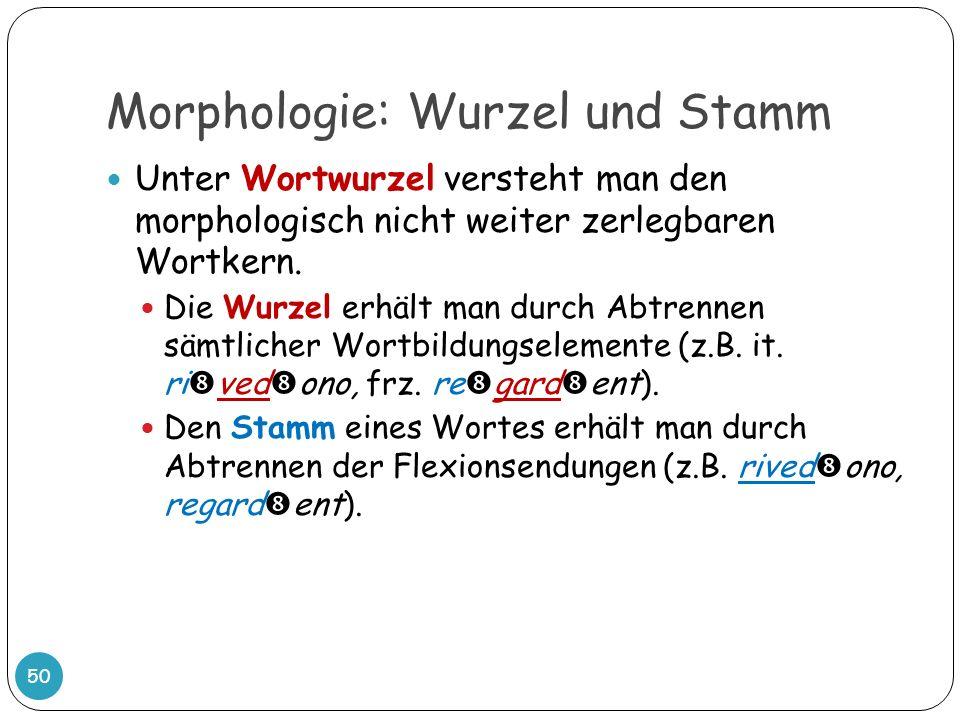 Morphologie: Wurzel und Stamm 50 Unter Wortwurzel versteht man den morphologisch nicht weiter zerlegbaren Wortkern. Die Wurzel erhält man durch Abtren