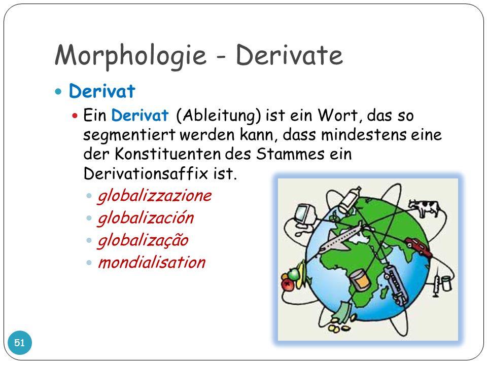 Morphologie - Derivate 51 Derivat Ein Derivat (Ableitung) ist ein Wort, das so segmentiert werden kann, dass mindestens eine der Konstituenten des Sta