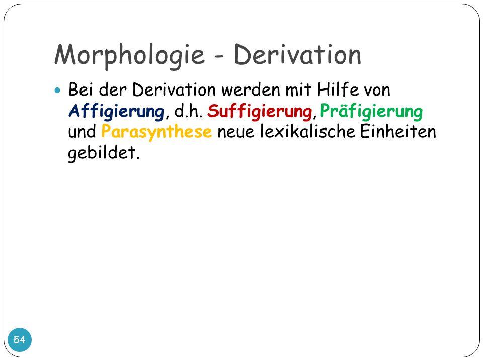 Morphologie - Derivation 54 Bei der Derivation werden mit Hilfe von Affigierung, d.h. Suffigierung, Präfigierung und Parasynthese neue lexikalische Ei