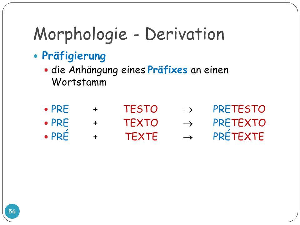 Morphologie - Derivation 56 Präfigierung die Anhängung eines Präfixes an einen Wortstamm PRE + TESTO PRETESTO PRE +TEXTO PRETEXTO PRÉ+ TEXTE PRÉTEXTE