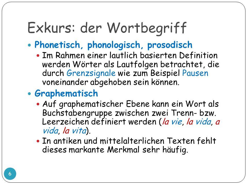 Exkurs: der Wortbegriff 6 Phonetisch, phonologisch, prosodisch Im Rahmen einer lautlich basierten Definition werden Wörter als Lautfolgen betrachtet,