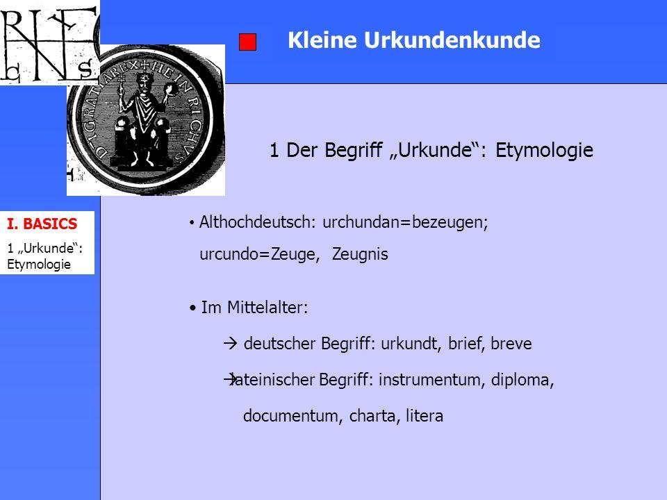 Kleine Urkundenkunde 3 Urkundeneditionen I.BASICS II.