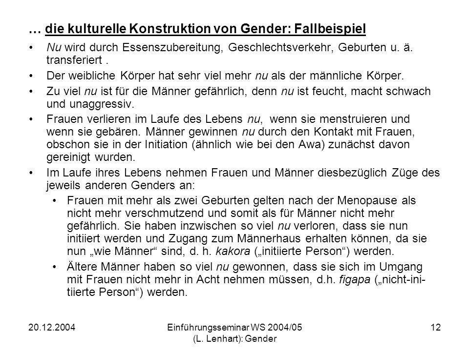20.12.2004Einführungsseminar WS 2004/05 (L. Lenhart): Gender 12 … die kulturelle Konstruktion von Gender: Fallbeispiel Nu wird durch Essenszubereitung