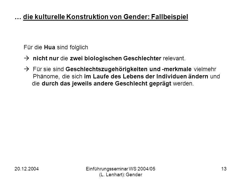 20.12.2004Einführungsseminar WS 2004/05 (L. Lenhart): Gender 13 … die kulturelle Konstruktion von Gender: Fallbeispiel Für die Hua sind folglich nicht