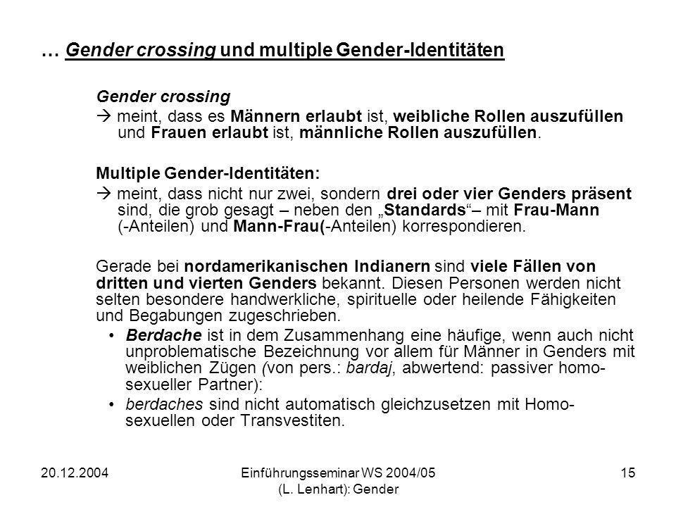 20.12.2004Einführungsseminar WS 2004/05 (L. Lenhart): Gender 15 … Gender crossing und multiple Gender-Identitäten Gender crossing meint, dass es Männe