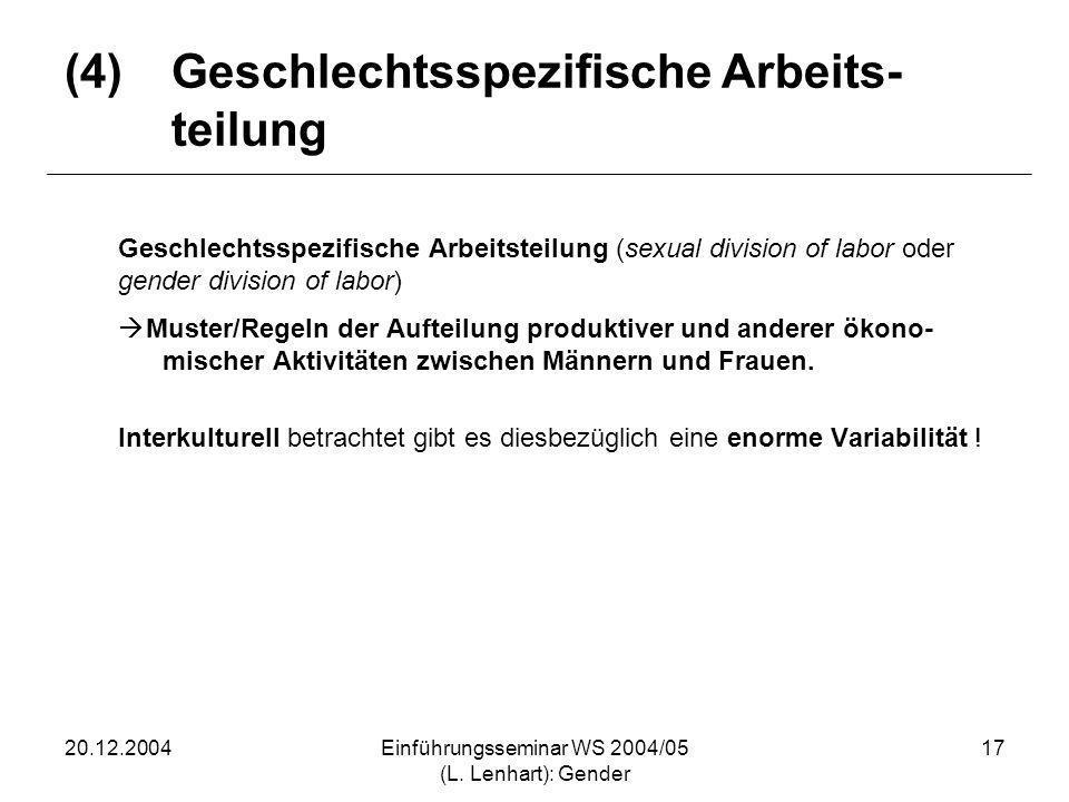 20.12.2004Einführungsseminar WS 2004/05 (L. Lenhart): Gender 17 (4)Geschlechtsspezifische Arbeits- teilung Geschlechtsspezifische Arbeitsteilung (sexu