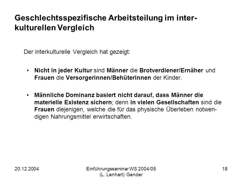 20.12.2004Einführungsseminar WS 2004/05 (L. Lenhart): Gender 18 Geschlechtsspezifische Arbeitsteilung im inter- kulturellen Vergleich Der interkulture