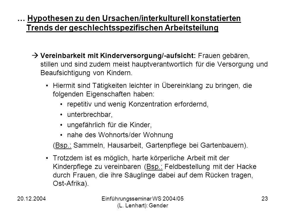 20.12.2004Einführungsseminar WS 2004/05 (L. Lenhart): Gender 23 … Hypothesen zu den Ursachen/interkulturell konstatierten Trends der geschlechtsspezif