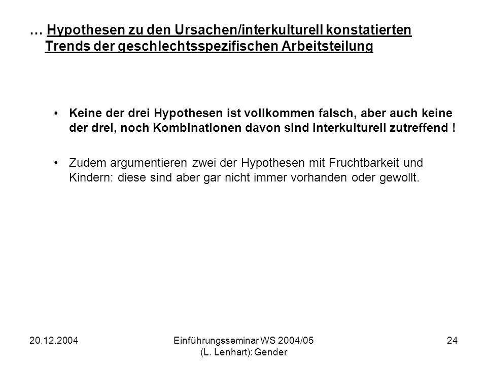 20.12.2004Einführungsseminar WS 2004/05 (L. Lenhart): Gender 24 … Hypothesen zu den Ursachen/interkulturell konstatierten Trends der geschlechtsspezif