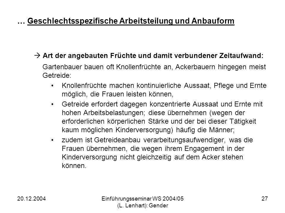 20.12.2004Einführungsseminar WS 2004/05 (L. Lenhart): Gender 27 … Geschlechtsspezifische Arbeitsteilung und Anbauform Art der angebauten Früchte und d