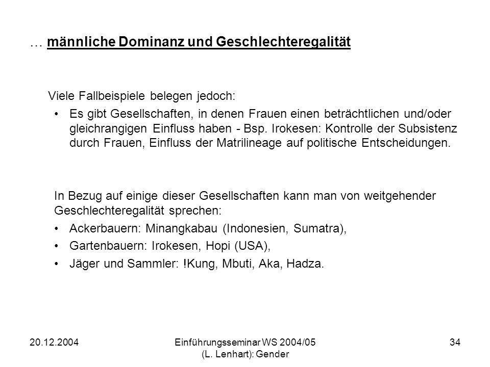 20.12.2004Einführungsseminar WS 2004/05 (L. Lenhart): Gender 34 … männliche Dominanz und Geschlechteregalität Viele Fallbeispiele belegen jedoch: Es g