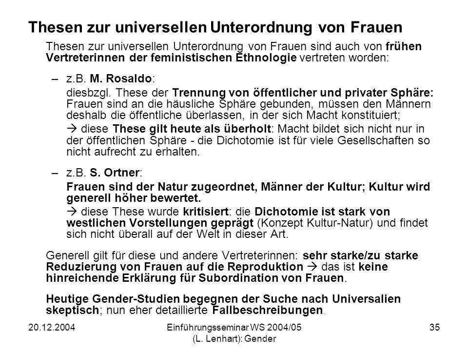 20.12.2004Einführungsseminar WS 2004/05 (L. Lenhart): Gender 35 Thesen zur universellen Unterordnung von Frauen Thesen zur universellen Unterordnung v