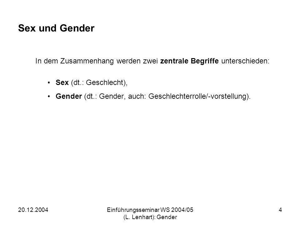 20.12.2004Einführungsseminar WS 2004/05 (L. Lenhart): Gender 4 Sex und Gender In dem Zusammenhang werden zwei zentrale Begriffe unterschieden: Sex (dt