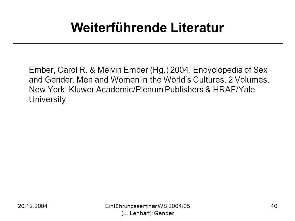20.12.2004Einführungsseminar WS 2004/05 (L. Lenhart): Gender 40 Weiterführende Literatur Ember, Carol R. & Melvin Ember (Hg.) 2004. Encyclopedia of Se