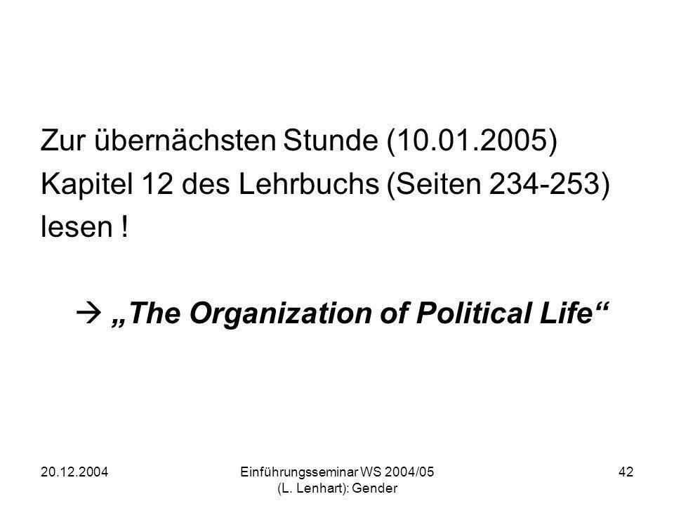 20.12.2004Einführungsseminar WS 2004/05 (L. Lenhart): Gender 42 Zur übernächsten Stunde (10.01.2005) Kapitel 12 des Lehrbuchs (Seiten 234-253) lesen !