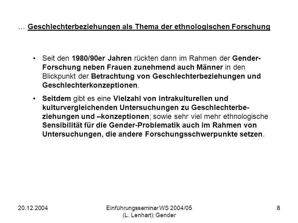 20.12.2004Einführungsseminar WS 2004/05 (L. Lenhart): Gender 8 … Geschlechterbeziehungen als Thema der ethnologischen Forschung Seit den 1980/90er Jah