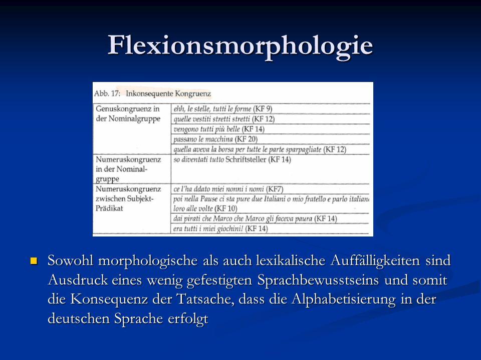 Flexionsmorphologie Sowohl morphologische als auch lexikalische Auffälligkeiten sind Ausdruck eines wenig gefestigten Sprachbewusstseins und somit die