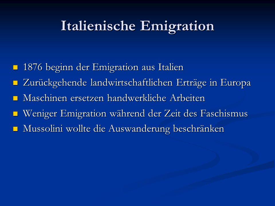 Italienische Emigration 1876 beginn der Emigration aus Italien 1876 beginn der Emigration aus Italien Zurückgehende landwirtschaftlichen Erträge in Eu