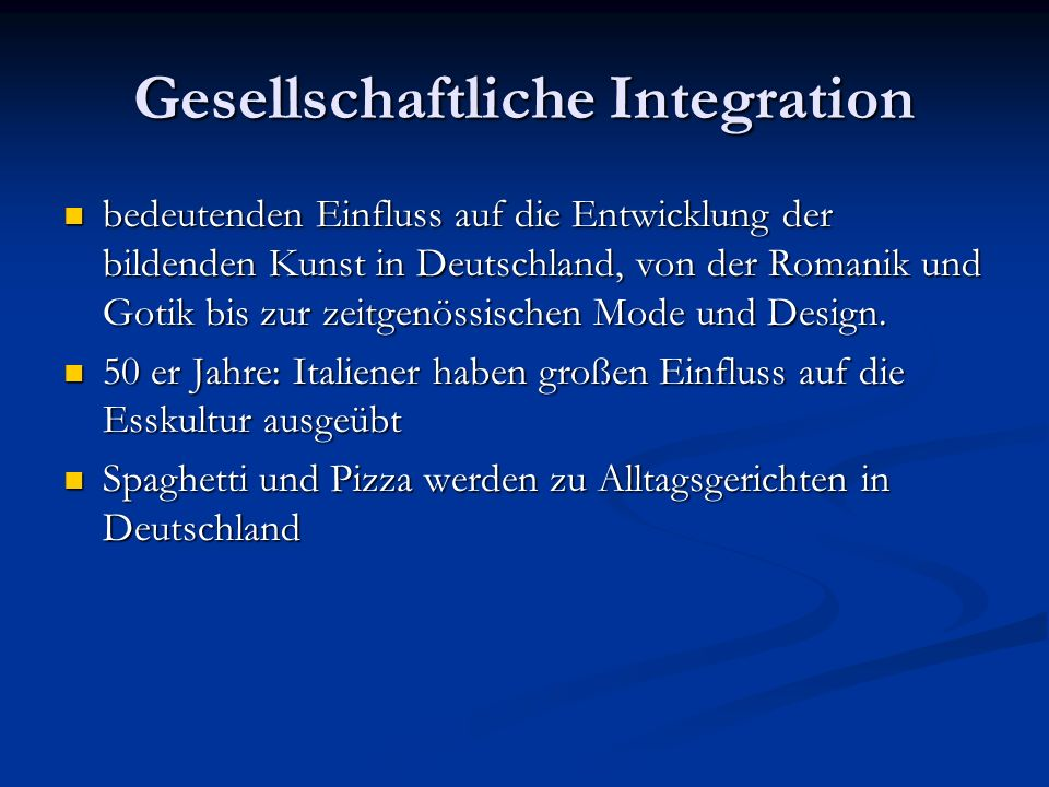 Gesellschaftliche Integration Wenige Italiener haben die deutsche Staatsbürgerschaft angenommen Wenige Italiener haben die deutsche Staatsbürgerschaft angenommen Menschen mit italienischem Migrationshintergrund haben auf dem Arbeitsmarkt beinahe den gleichen Wert wie ein Einheimischer.