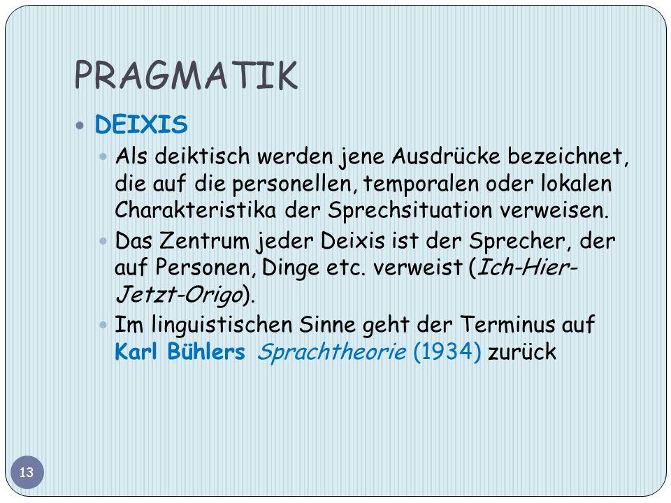 PRAGMATIK DEIXIS Als deiktisch werden jene Ausdrücke bezeichnet, die auf die personellen, temporalen oder lokalen Charakteristika der Sprechsituation