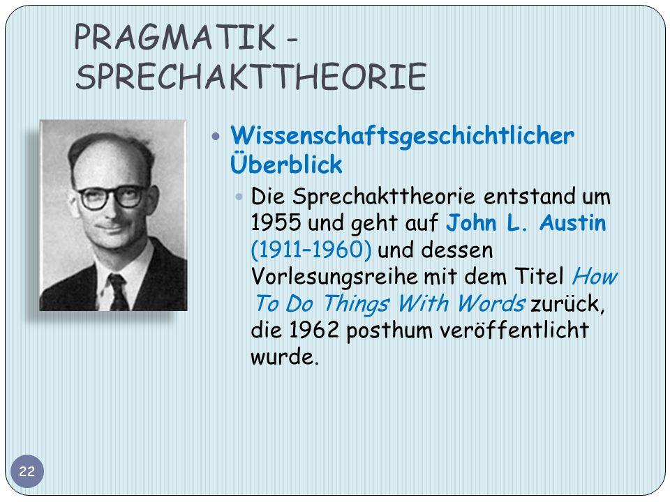 PRAGMATIK - SPRECHAKTTHEORIE 22 Wissenschaftsgeschichtlicher Überblick Die Sprechakttheorie entstand um 1955 und geht auf John L. Austin (1911–1960) u