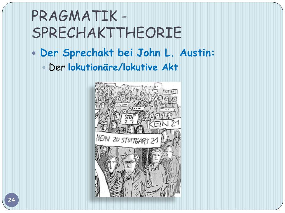 PRAGMATIK - SPRECHAKTTHEORIE 24 Der Sprechakt bei John L. Austin: Der lokutionäre/lokutive Akt