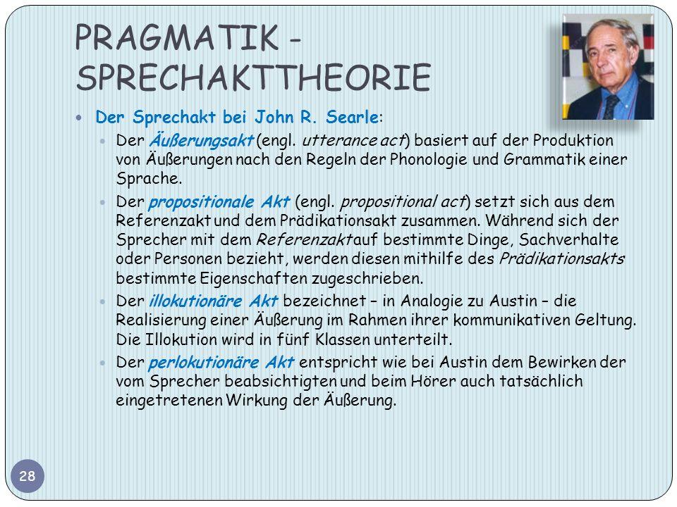 PRAGMATIK - SPRECHAKTTHEORIE Der Sprechakt bei John R. Searle: Der Äußerungsakt (engl. utterance act) basiert auf der Produktion von Äußerungen nach d