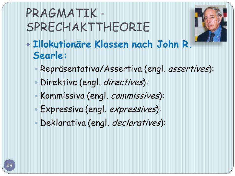 PRAGMATIK - SPRECHAKTTHEORIE Illokutionäre Klassen nach John R. Searle: Repräsentativa/Assertiva (engl. assertives): Direktiva (engl. directives): Kom