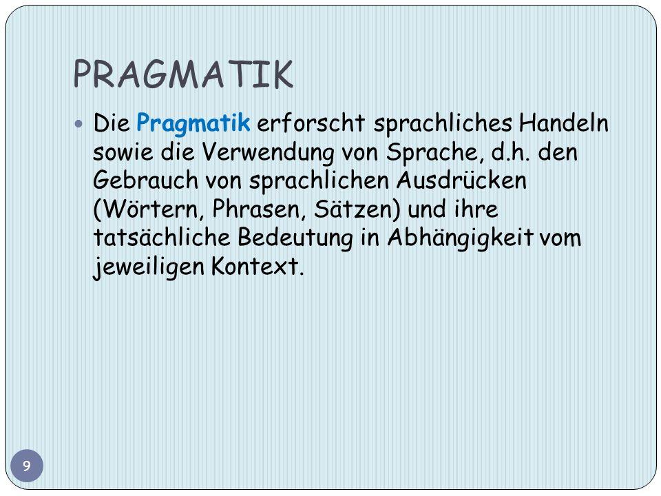 PRAGMATIK Die Pragmatik erforscht sprachliches Handeln sowie die Verwendung von Sprache, d.h. den Gebrauch von sprachlichen Ausdrücken (Wörtern, Phras