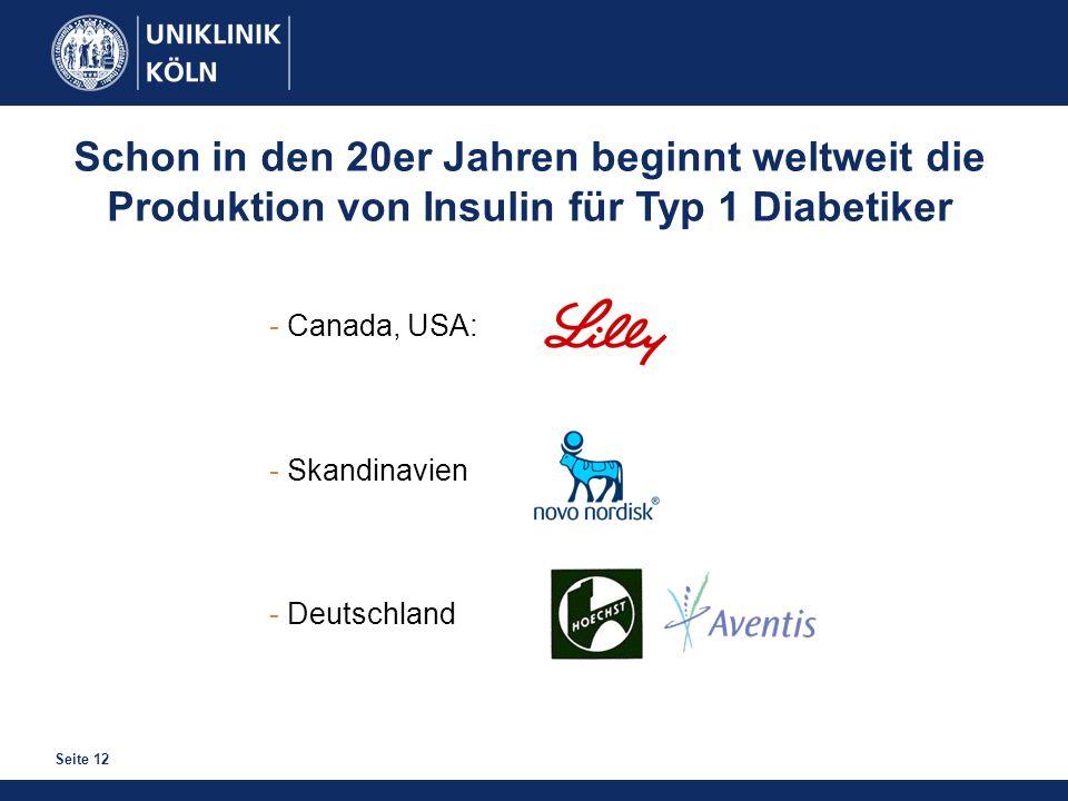 Seite 12 Schon in den 20er Jahren beginnt weltweit die Produktion von Insulin für Typ 1 Diabetiker - Canada, USA: - Skandinavien - Deutschland